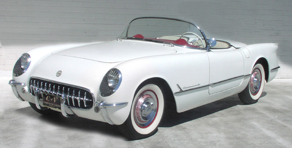 1954 White Convertible Corvette
